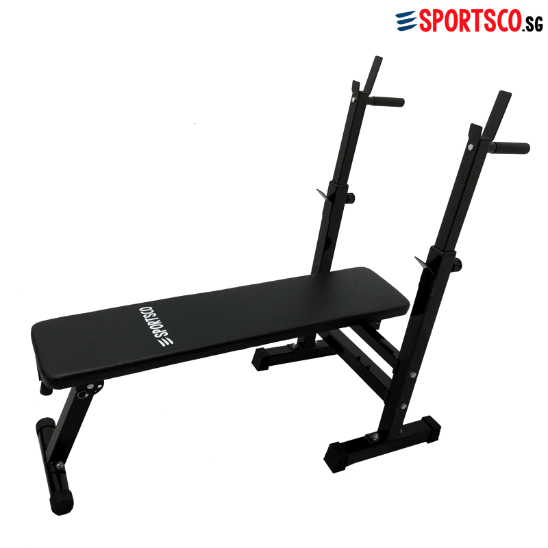 Sportsco Flat Workout Weight Lifting Bench With Barbell Rack Foldable Sg Lazada Singapore