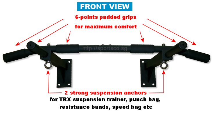 Front View - Wall Mounted Chin Up Bar Features