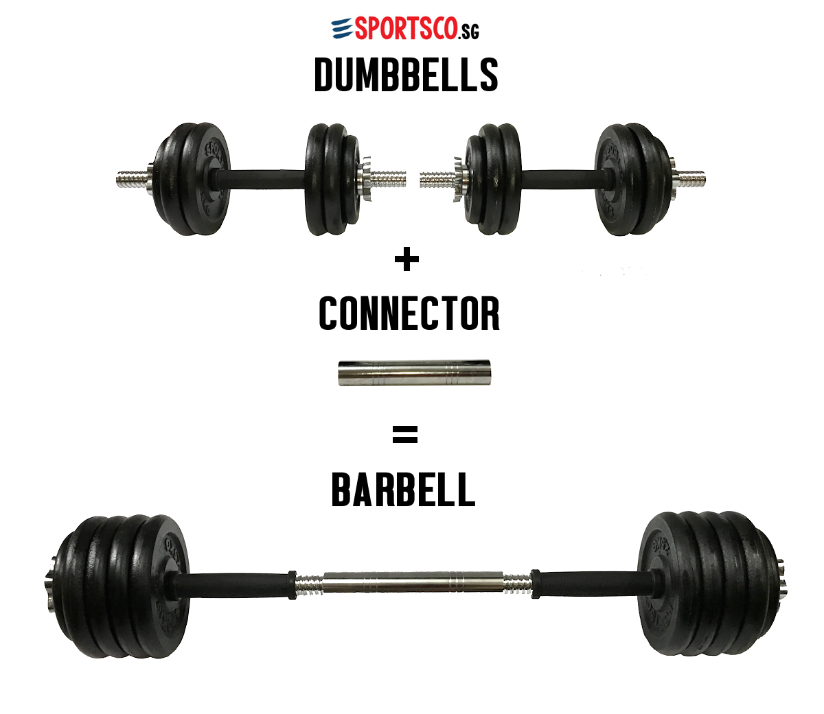 b869f5e3371 30KG Premium Iron Cast Dumbbell to Barbell Set Singapore - SPORTSCO