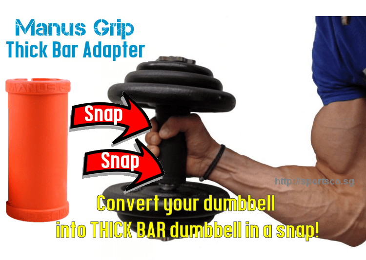 Manus grip convert dumbbell into thick bar dumbbell instantly