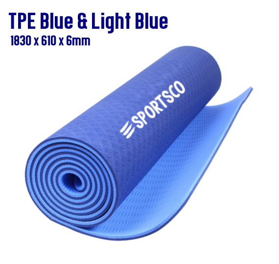 TPE Yoga Mat Blue and Light Blue
