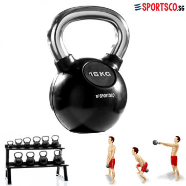 16KG Rubber Coated Kettlebell with Chrome Handle