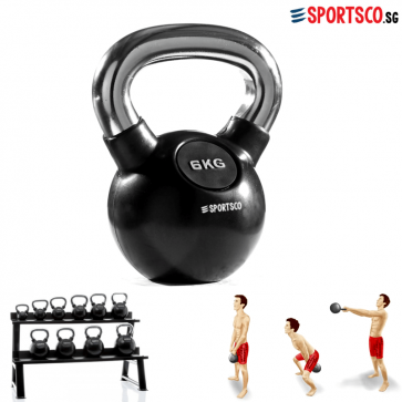 6KG Rubber Coated Kettlebell with Chrome Handle