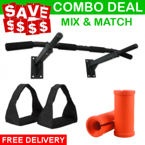 COMBO: Wall Mounted Chin Up Bar, Ab Straps, Manus Grip