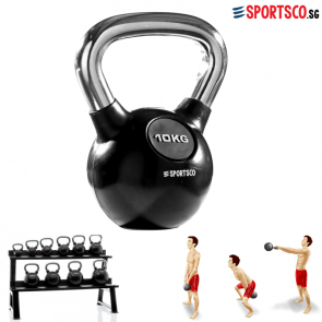 10KG Rubber Coated Kettlebell with Chrome Handle