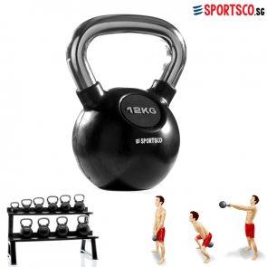 12KG Rubber Coated Kettlebell with Chrome Handle