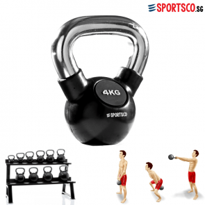 4KG Rubber Coated Kettlebell with Chrome Handle