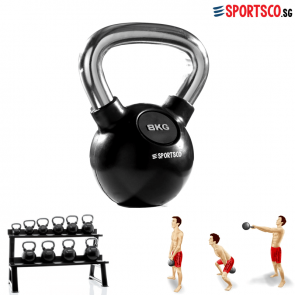 8KG Rubber Coated Kettlebell with Chrome Handle